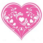 Beautiful Pink Heart with Floral Pattern